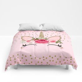 Pink & Gold Floral Unicorn Face Comforters