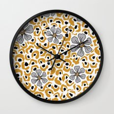 Golden animal print floral Wall Clock