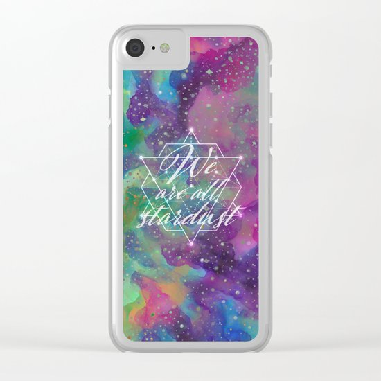 We Are All Stardust Watercolor Sacred Geometry Clear iPhone Case