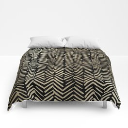 Gold and Black Herringbone Luxury Boho Striped Pattern Comforters