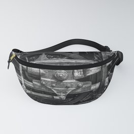 Driven Vintage Steam Locomotive Crosshead Detail Drive Wheel Black and White Fanny Pack