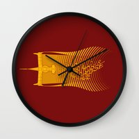 bebop Wall Clocks featuring Space Horse (Spikes Horse)Bebop)Cowboy)Swordfish) by Geekleetist