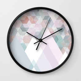 Pastel Graphic Winter Mountains on Geometry #abstractart Wall Clock