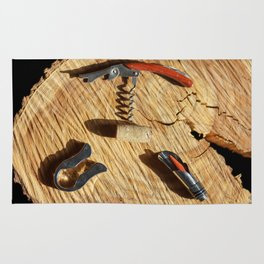corkscrew with wine corks Rug
