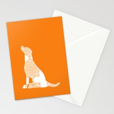 Orange Damask Labrador Retriever Dog Stationery Cards