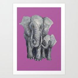 Elephant Parent and Calf (violet) Art Print