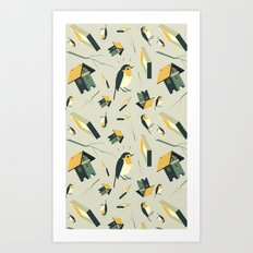 Flying Birdhouse (Pattern) Art Print