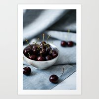 Bowl of Sweet Cherries Art Print