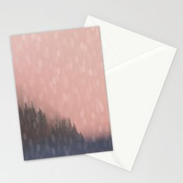 Frosty Morn, Forest Landscape Sparkles Stationery Cards