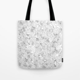 Hand painted black white watercolor tribal floral Tote Bag