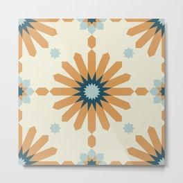 Geometric Starburst in Orange Metal Print