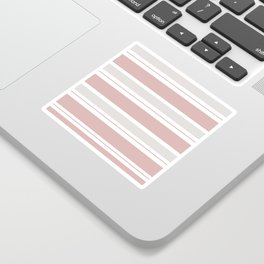 Pink  and Light Gray Stripes Sticker