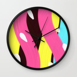 Colorful Abstract Oil Painting with paint stroke textures Wall Clock