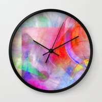 funky Wall Clocks featuring Funky Art  by Christine baessler