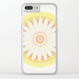 Sunshine Yellow Flower Mandala Abstract Clear iPhone Case