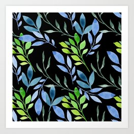 Blue and Green Leaves Art Print