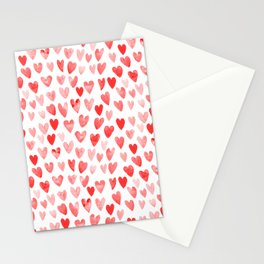 Watercolor heart pattern perfect gift to say i love you on valentines day Stationery Cards