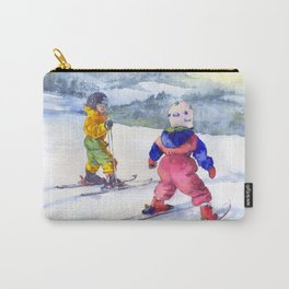 Watercolor skiing, skiers kids Carry-All Pouch