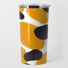 Mid Century Abstract Black & Yellow Fun Pattern Floating Mustard Bubbles Cheetah Print Travel Mug