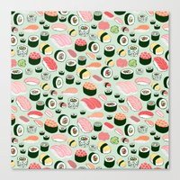 sushi Canvas Prints featuring Sushi Love by Kristin Nohe Juchs