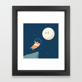 Fly to the moon _ navy blue version Framed Art Print