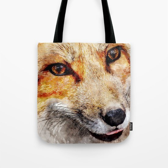 Cute Fox  animal nature watercolor illustration Tote Bag