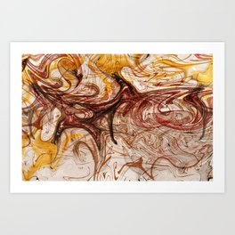 Antelope or a dog in the abstract lines and waves Art Print