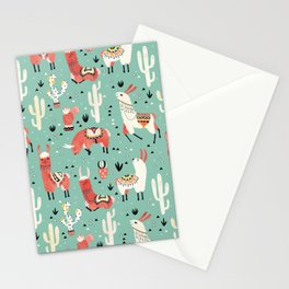Llamas and cactus in a pot on green Stationery Cards