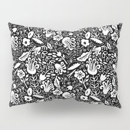 Funky Vintage Floral // Monochrome Black and White // Color Your Own Flower Garden Pillow Sham