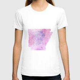 Typographic Arkansas - Pink Watercolor map T-shirt