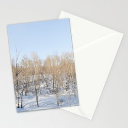 Snowfall and treetops Stationery Cards