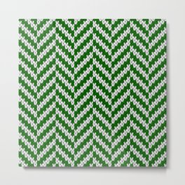 Realistic knitted herringbone pattern green Metal Print