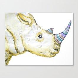 Striped Rhino Illustration Canvas Print