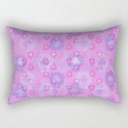 Lotus flower - rich rose woodblock print style pattern Rectangular Pillow