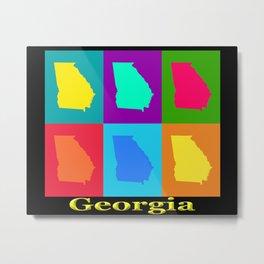 Colorful Georgia State Pop Art Map Metal Print