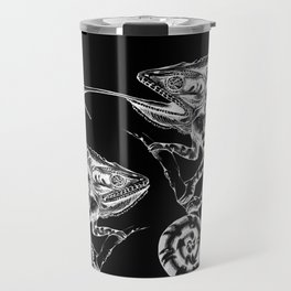 Catch - Chameleon and Dragonfly Illustration Hand Drawing from Inktober 2019 Travel Mug