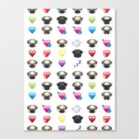 emoji Canvas Prints featuring Emoji Pug  by Huebucket