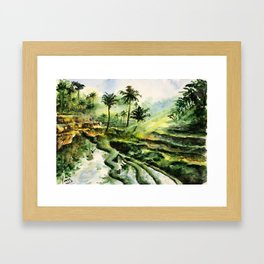 Sunny rice fields of Bali, Indonesia - Watercolor art Framed Art Print
