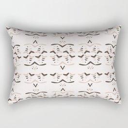 Abstract Stripes Folk Art Texture Winter White Boho Rectangular Pillow