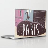 travel poster Laptop & iPad Skins featuring Vintage Paris Travel Poster cartoon by Nick's Emporium Gallery