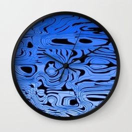 Striped interweaving of blue spots from bright flowing lava and dark horizontal spots. Wall Clock