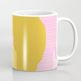 Sunny Yellow Poppy Flower on Pink Coffee Mug