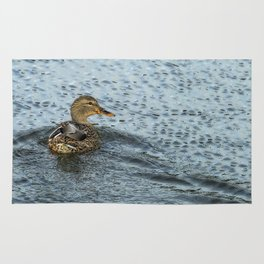 Mallard in the Rain Rug