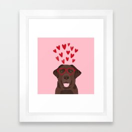 Chocolate Lab love heart glasses cute pet gifts valentines day labrador retriever Framed Art Print