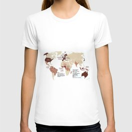 Cocoa Chocolate Around the World Export Map T-shirt