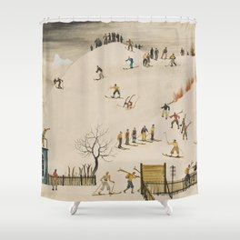The Practice Slope winter skiing landscape painting by Franz Sedlacek  Shower Curtain