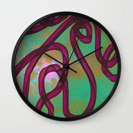 """Galactic Ribbon"" (Burgundy/Green) Digital Painting // Fine Art Print Wall Clock"