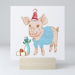 Holiday Party Pig Mini Art Print