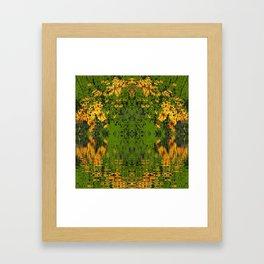 GREEN YELLOW RUDBECKIA DAISIES WATER REFLECTIONS Framed Art Print