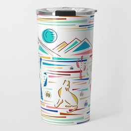 Desert High- Coyote Howls at Blue Moon Travel Mug